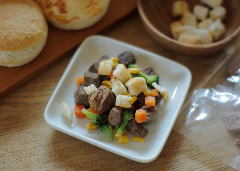 Today's Recipe/簡単!ミックスベジタブルと赤身ダイスのステーキディナー
