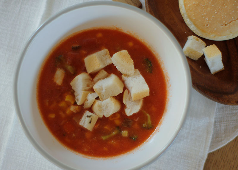 Today's Recipe/クルトン添え タラとトマトのスープ