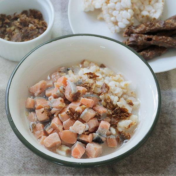さくさく真鯛と鮭のお茶漬け風